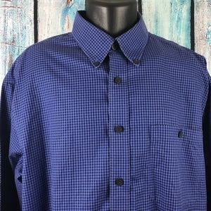 ORVIS Men's Blue Plaid Button Front Dress Shirt